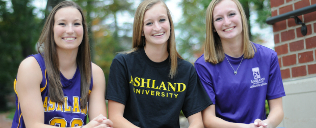 Three young female athletes from Ashland University.