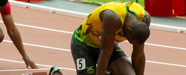 Olympic Athlete, Usain Bolt on track before starting a race.