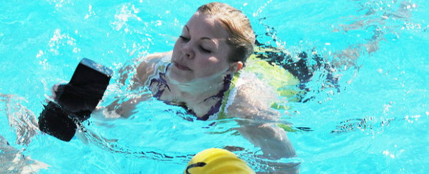 Female athlete training for swimming.