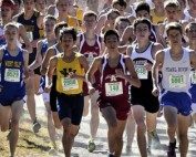 Athletes running in cross-country invitational.